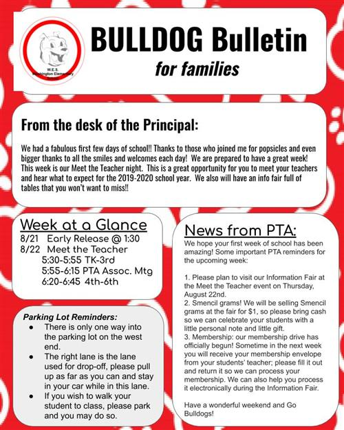 Bulldog Bulletin 8/19
